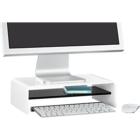 Acryl-Medienträger U-Form mit Boden, 350 x 230 x 100 mm, weiß/schwarz