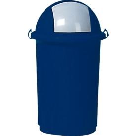 Afvalbak, kunststof, Ø 410 x H 760 mm, 50 liter, blauw