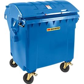Afvalcontainer MGB 1100 RD, kunststof, rond deksel, 1100 l, blauw