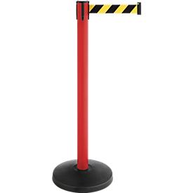 Afzetpaal met trekband, set van 2, rood, band zwart/geel