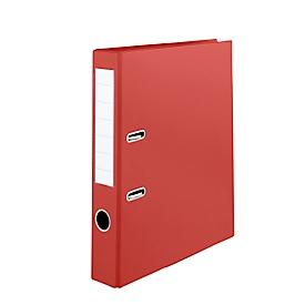 Aktenordner, Format A4, mit auswechselbarem Rückenschild & Griffloch, abwaschbar, Rückenbreite 50 mm, PVC, rot, 10 Stück