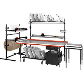 Almacén bajo la mesa de embalaje y trabajo Hüdig + Rocholz System 1600/2000, largo, hasta 160 cajas plegables, ancho 1600 x fondo 600 x alto 604 mm, gris claro