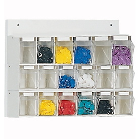 Almacén mural para objetos pequeños MultiStore, 18 cajas de almacenamiento, volumen 4,7 l, ancho 600 x fondo 108 x alto 410 mm, tablero de madera y poliestireno