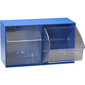 Almacén transparente MultiStore, 2 contenedores, ancho 601 x fondo 310,5 x 353 mm, azul genciana