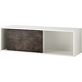 ALTINO wand boekenkast, 2 vakken, 1 schuifdeur, B 1200 x D 360 x H 370 mm, basalt donkerbruin/wit