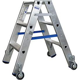 Alu-Stufendoppelleiter mit Rollen, 2 x 3 Stufen