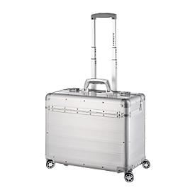 ALUMAXX Business Trolley PANDORA, met draaggreep en wielen, aluminium, mat zilver