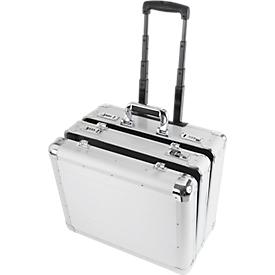 ALUMAXX multifunctionele koffer Challenger, met draaggreep en wielen, 2 vakken, zilver