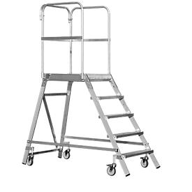 Aluminium platform met wielen, eenzijdig, 3 treden