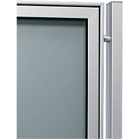 aluminium staanders set, rechthoekige buis, om in te betonneren, 80x40x2150 mm, aluminium zilver