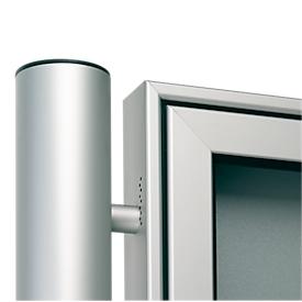 aluminium staanders set, ronde buis, om in te betonneren, Ø 80x2400 mm, aluminium zilver
