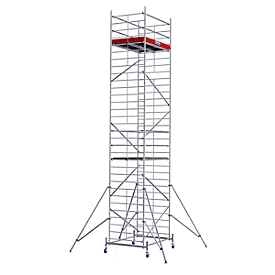Andamio móvil de aluminio estructura ancha, altura de trabajo aprox. 9300mm