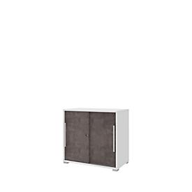 Ansatz-Schiebetürenschrank TEQSTYLE, B 800 x T 400 x H 745 mm, Weiß/Quarzit