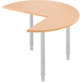 Ansatztisch, 3/4 Kreis, Ø 1200 mm, Ansatz rechts/links, Buche/weißalu