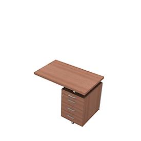Ansatztisch mit Container X-TIME-WORK, Wangen, Rechteck, B 1000 x T 600 x H 730 mm, Nuss Canaletto-Dekor/weiß