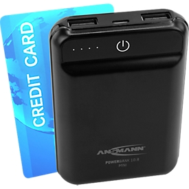 Ansmann Powerbank 10.8 mini, 10000 mAh, 2 x USB-Port, 208 g