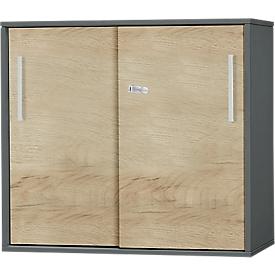 Anstell-/Aufsatz-Schiebetürenschrank SET UP, 2 OH, B 800 x T 420 x H 726 mm, graphit/eiche