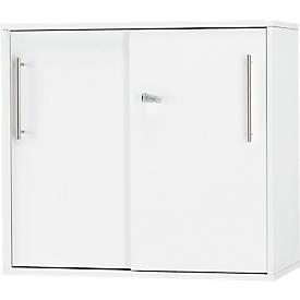 Anstell-/Aufsatz-Schiebetürenschrank Start Up, in Tischhöhe, abschließbar, B 800 x T 420 x H 726 mm, weiß/weiß