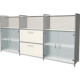 Aparador alto Toledo, 2 cajones, 3 compartimentos, 3 AA, puertas de vidrio, An 2360 x P 380mm, blanco