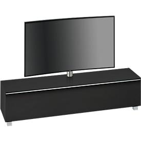 Aparador sistemas audio Nizza, con soporte para TV, soporte orientable, 6 compartimentos, vidrio negro/mate