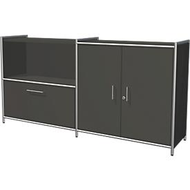 Aparador Toledo, con cerradura, cajón + compartimento, 2 AA, puertas batientes, An 1580 x P 380mm, antracita