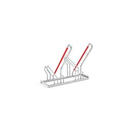 Aparcabicicletas WSM, unilateral, para ruedas de hasta 55 mm ancho, An 1000 x P 550 x Al 854mm, acero galvanizado, 2 plazas