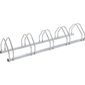 Aparcabicis con soportes de rueda, unilateral, para ruedas de 35-55 mm de ancho, An 1320 x P 330 x Al 250mm, acero galvanizado en caliente, 5 plazas, montado