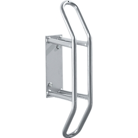 Aparcabicis de pared, 45° inclinado izquierda/derecha, para ruedas de hasta 55 mm ancho, An 250 x P 200 x Al 540mm, acero, 1 plaza