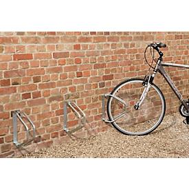 Aparcabicis de pared, basculante 180°, para ruedas de hasta 50 mm ancho, An 85 x P 285 x Al 328mm, acero galvanizado, 1 plaza