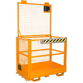 Arbeitsbühne für Stapler Typ MB-II, für 2 Personen, bis 300 kg, L 1040 x B 1300 x H 2155 mm, gelborange RAL 2000