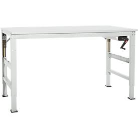 Arbeitstisch Ergo K, m. Kurbel,  1000 x 800 mm, Tischplatte Melamin, lichtgrau