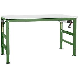 Arbeitstisch Ergo K, m. Kurbel,  1000 x 800 mm, Tischplatte Melamin, resedagrün