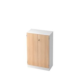 Archiefkast 3 ordnerhoogten, B 800 x D 420 x H 1270 mm, afsluitbaar, wit/eiken