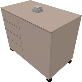 Archivador auxiliar SOLUS PLAY, 4 cajones, 1 puerta batiente, An 800 x P 500 x Al 720-1080mm, gris piedra