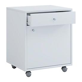 Archivador con ruedas, 1 cajón y 1 compartimento con puerta, An 450 x P 380 x Al 540mm, tablero aglomerado blanco con imitación de estructura de madera