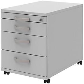 Archivador con ruedas BARI, cajón para material, 3 cajones, con cerradura, An 432 x P 577 x Al 538mm, gris claro