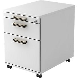 Archivador con ruedas TOPAS LINE, 1 cajón, 1 bandeja extraíble para archivadores colgantes, 1 bandeja extraíble utensilios, P 580, blanco/blanco