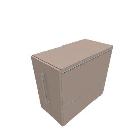 Archivador fijo SOLUS PLAY, con bandeja extraíble, extensión izquierda, profundidad 400mm, gris piedra