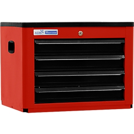 Arcón para herramientas BASIC, Al 450 x An 600 x P 440mm, 4 cajones, rojo