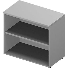 ARLON OFFICE boekenkast, 2 OH, 1 regelbare legbord, B 800 x D 450 x H 730 mm, lichtgrijs/aluminium
