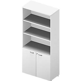 ARLON OFFICE combi-boekenkast, 5 OH, B 900 x D 450 x H 2000 mm, wit/wit