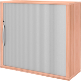 Armario adicional de persiana BARI, 4 estantes, apertura hacia la derecha, cerradura y tabique central, An 1200 x P 430 x Al 1117mm, acabado en haya
