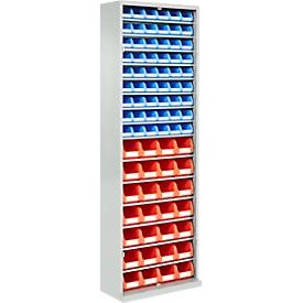 Armario-almacén, 1980mm de alto, 15 estantes, 82 cajas, sin puertas, gris luminoso