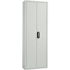 Armario-almacén, 1980mm de alto, 15 estantes, sin cajas, con puertas, gris luminoso