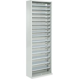 Armario-almacén, 1980mm de alto, 15 estantes, sin cajas, sin puertas, gris luminoso