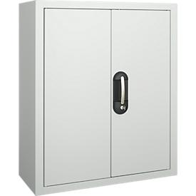 Armario-almacén, 830mm de alto, 6 estantes, sin cajas, con puertas, gris luminoso