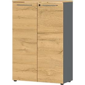 Armario archivador Agenda Home, 3 AA, con cerradura, An 800 x P 400 x Al 1200mm, grafito/roble