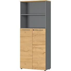 Armario archivador Agenda Home, 5 AA, An 800 x P 400 x Al 1970mm, 2 compartimentos abiertos, con cerradura, grafito/roble