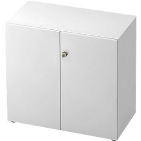 Armario archivador TOPAS LINE, 2 alturas de archivo, puertas con cerradura, blanco/blanco