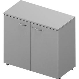 Armario ARLON OFFICE, 2 alturas de archivo, con cerradura, An 900 x P 450 x Al 816mm, gris luminoso/aluminio